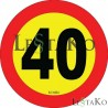 Speed ​​Label 40 Km / h 15X15 cm
