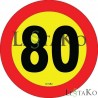 Speed ​​Label 80 Km / h 15X15 cm