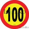 Speed ​​Label 100 Km / h 15X15 cm