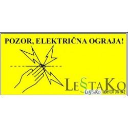 pozor električna ograja 20x10cm