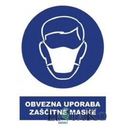 Obvezna uporaba zaščitne maske 22x30cm