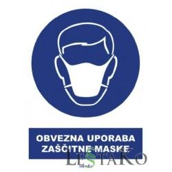Obvezna uporaba zaščitne maske 15x20cm Nalepka